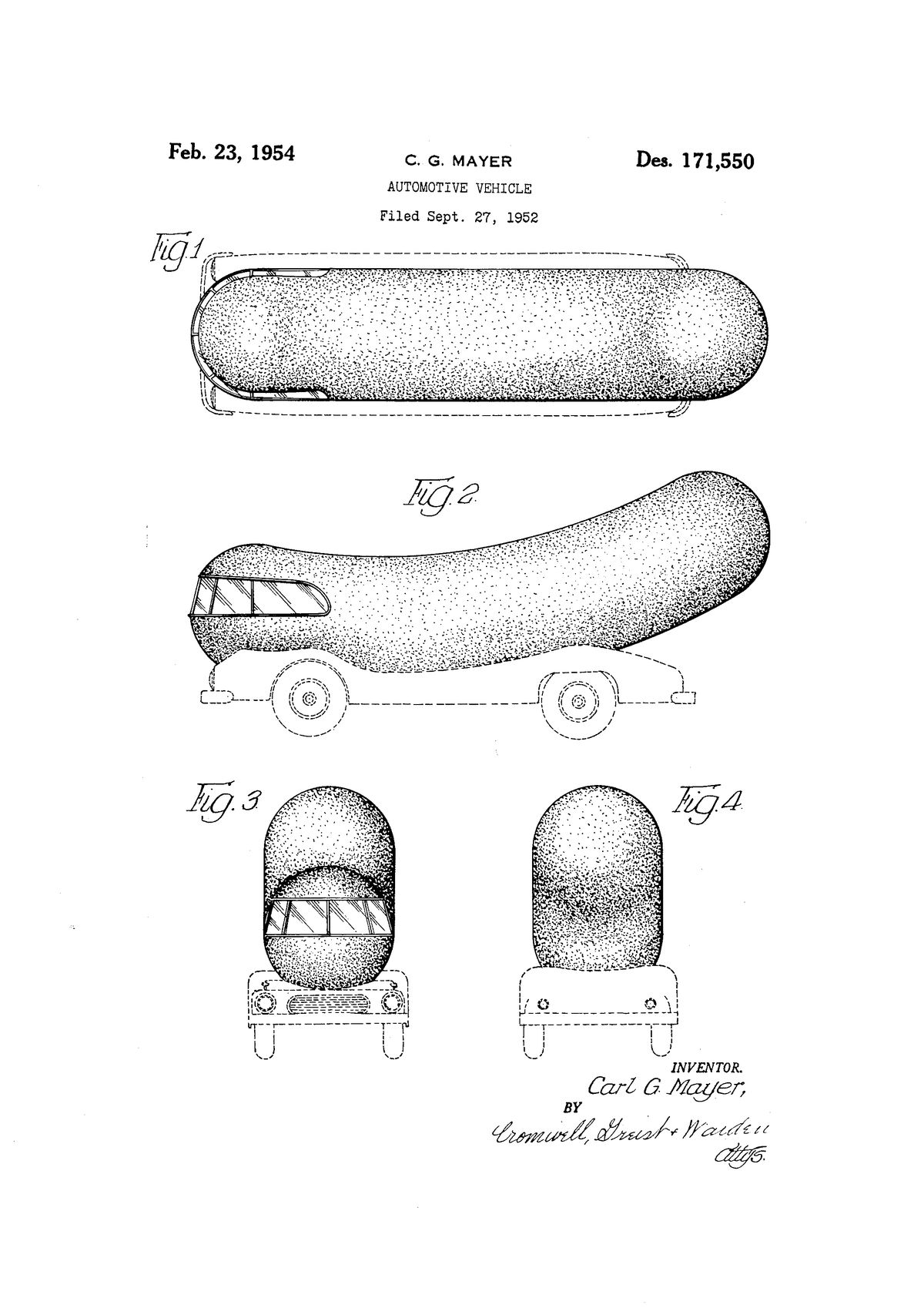 The full illustrations for the Weinermobile patent