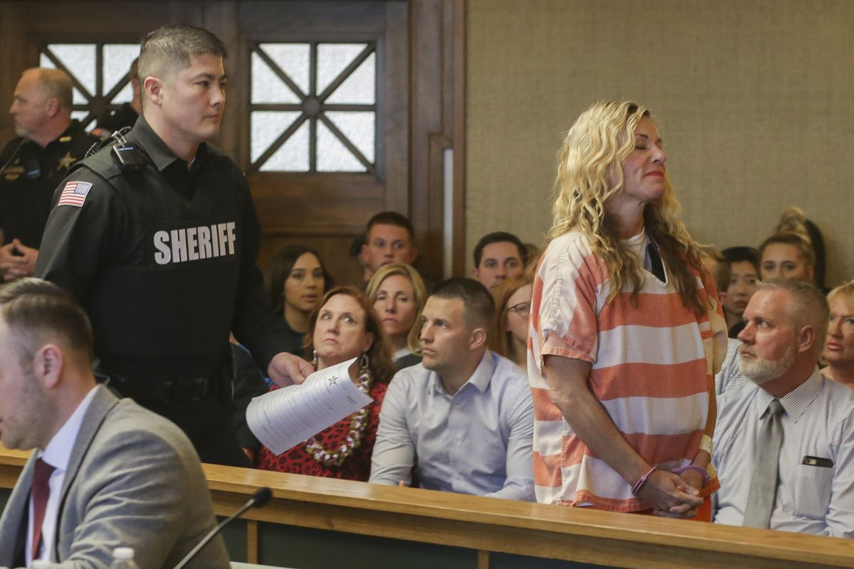 Lori Vallow Daybell leaves the courtroom during her hearing on Friday, March 6, 2020, in Rexburg, Idaho. Daybell who is charged with felony child abandonment after her two children went missing nearly six months ago had her bond reduced to $1 million by an Idaho judge on Friday. (John Roark/The Idaho Post-Register via AP, Pool)