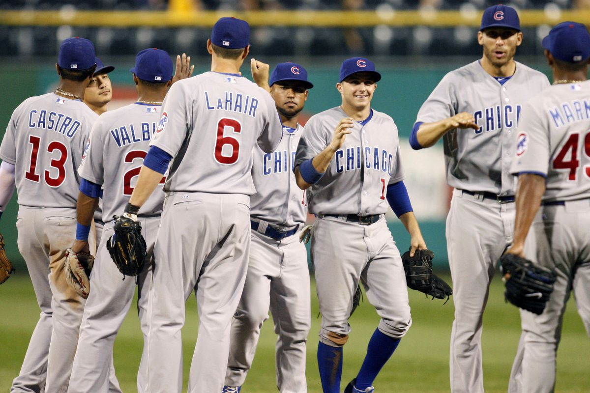We don't see celebrations by Cubs too often, so let's enjoy! Pittsburgh, PA, USA; The Chicago Cubs celebrate on the field after defeating the Pittsburgh Pirates at PNC Park.The Chicago Cubs won 12-2. Credit: Charles LeClaire-US PRESSWIRE
