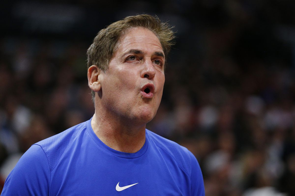 Owner Mark Cuban of the Dallas Mavericks reacts against the Miami Heat during the second half at American Airlines Arena on February 28, 2020 in Miami, Florida.