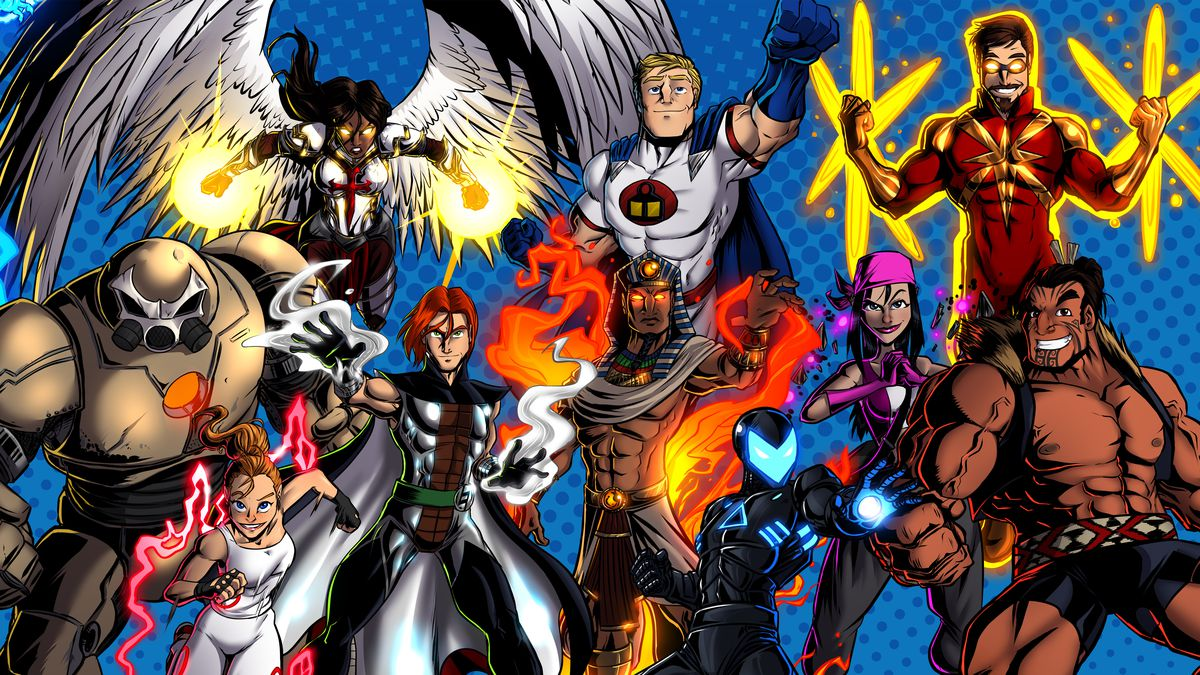 A collection of all the heroes in Sentinels of the Multiverse: Definitive edition with their new and improved art.