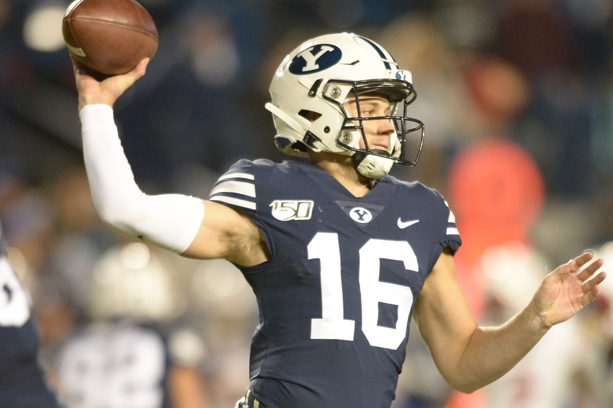 Brigham Young Cougars quarterback Baylor Romney during a game between the Liberty Flames and the BYU Cougars on November 09, 2019, at LaVell Edwards Stadium in Provo, Utah.