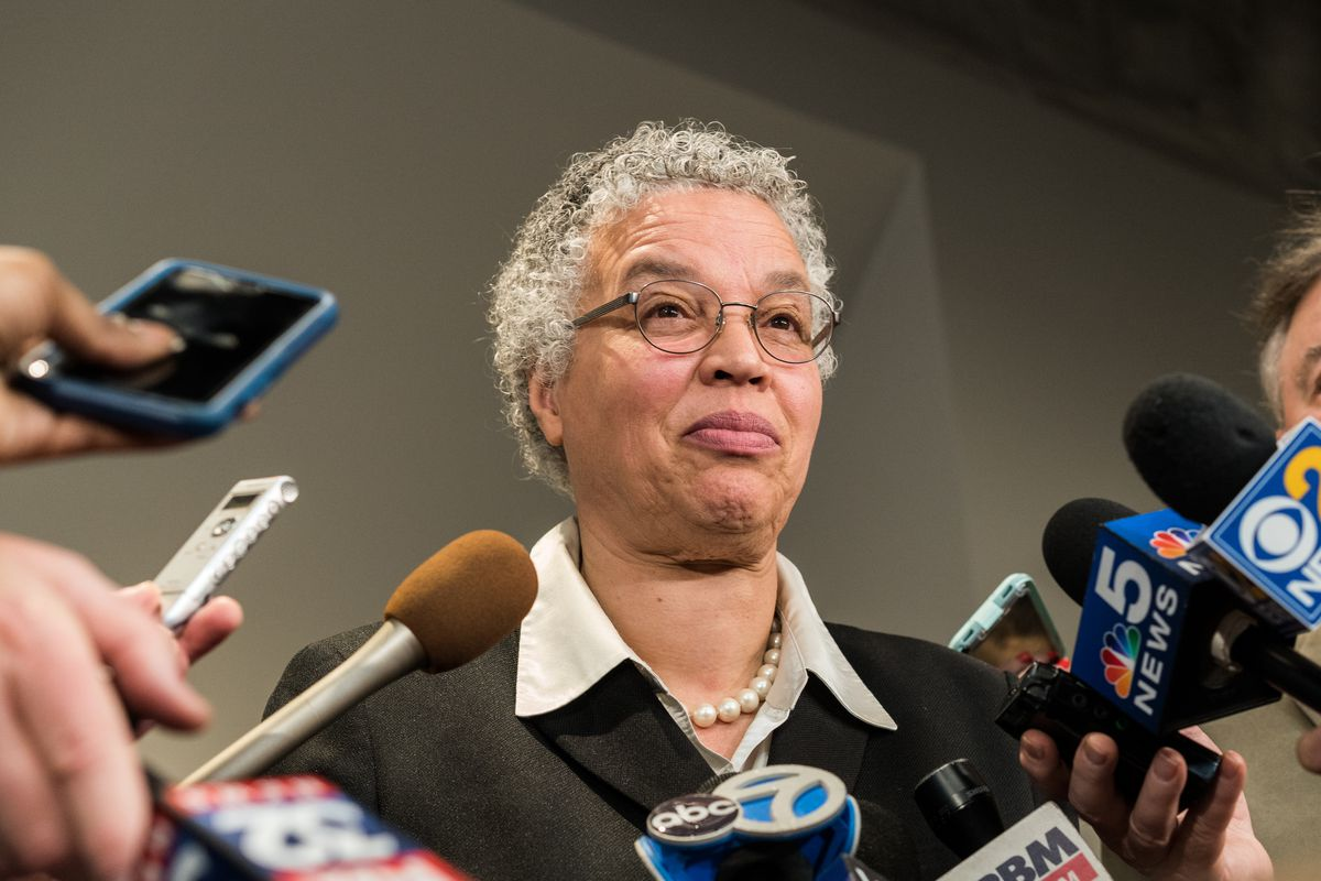 Mayoral candidate and Cook County Board President Toni Preckwinkle