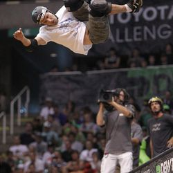 Andy Macdonald of Boston, MA skates in the vert final at Energy Solutions Arena for the Salt Lake City stop of the Dew Tour on Saturday, Sept. 10, 2011.