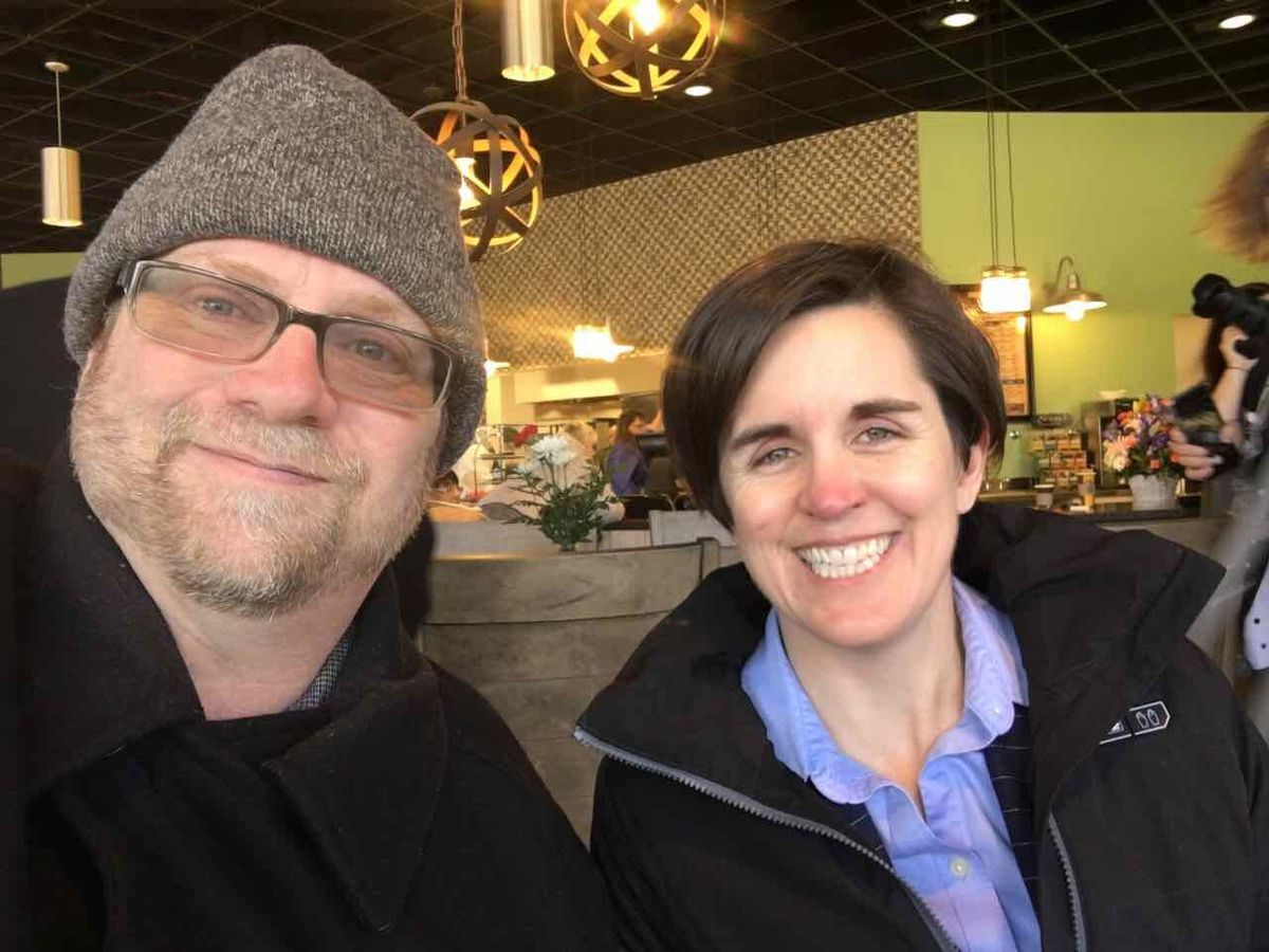 The author takes a selfie with Paraquad's chair Kerri Morgan at the opening of The Bloom Cafe.