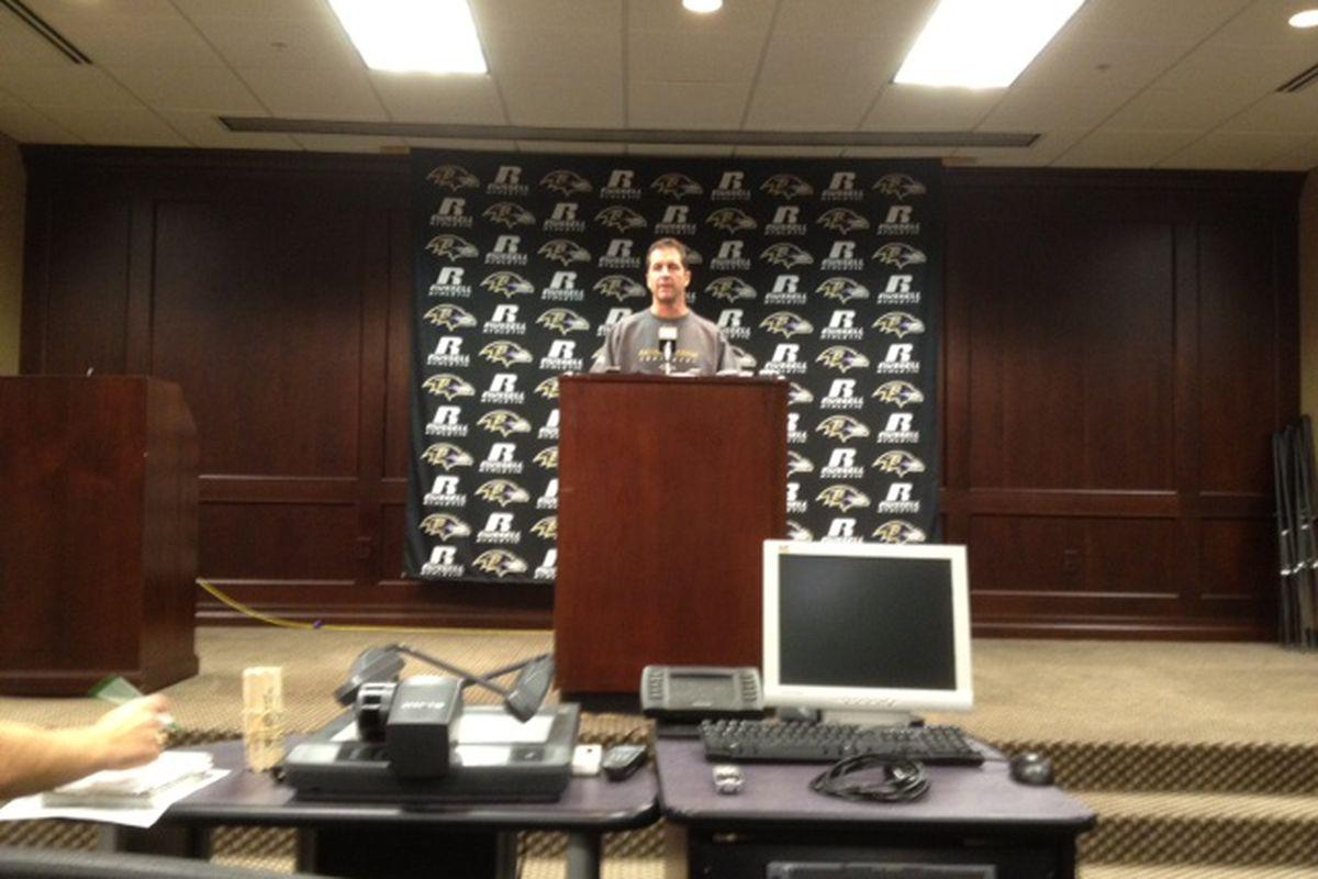 Ravens head coach John Harbaugh at Monday's Press Conference (Dec. 19, 2011)