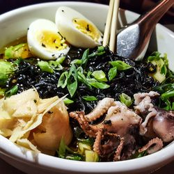 Squid ink ramen at Franklin Oyster House