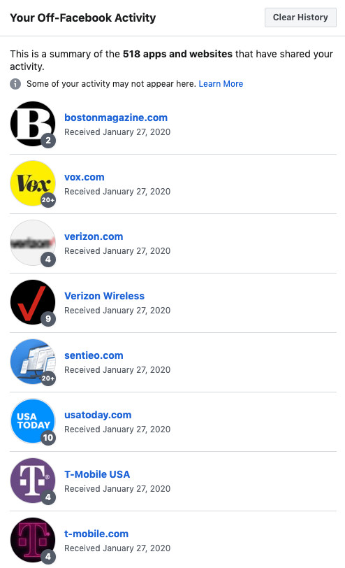 a list of websites from Facebook's off-Facebook activity tool