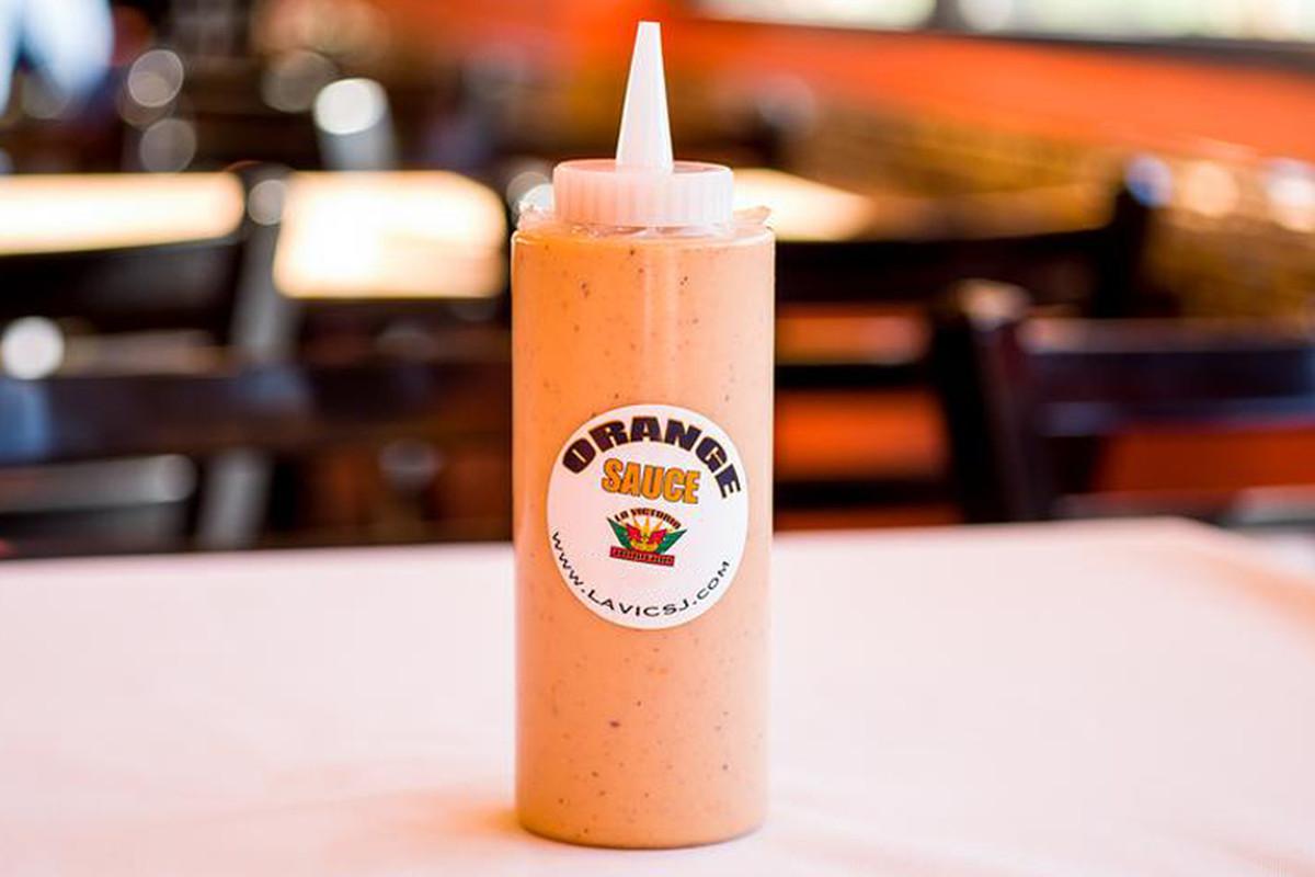 A squeeze bottle of the famous La Vic's orange sauce