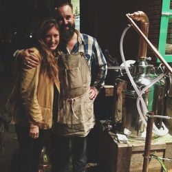 """Here I am with my friend Obi of <b><a href=""""www.juniperridge.com"""">Juniper Ridge</a></b> outside of their opening party at <b><a href=""""http://fellowbarber.com/"""">Fellow Barber</a></b>.Obi is distilling some pine from California. It is unbelievable to expe"""