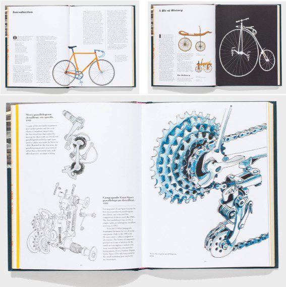 Some of the bike porn from 'Racing Bicycles' including a 1940s Nivex derailleur with a six speed block from the 1960s (bottom) and the mythical beast that is the Célérifère (top right)