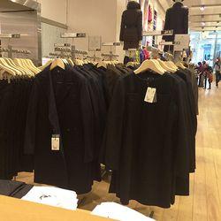 Women's wool blend coat, $230 and wool blend dress, $90