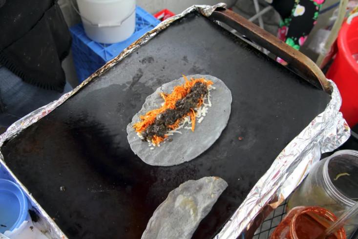Chicken & huitlacoche at the Blue Corn Quesadilla Cart in Echo Park