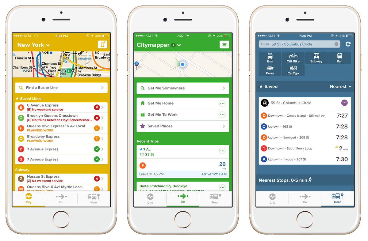 Three mobile phone screens displaying the Citymapper app.