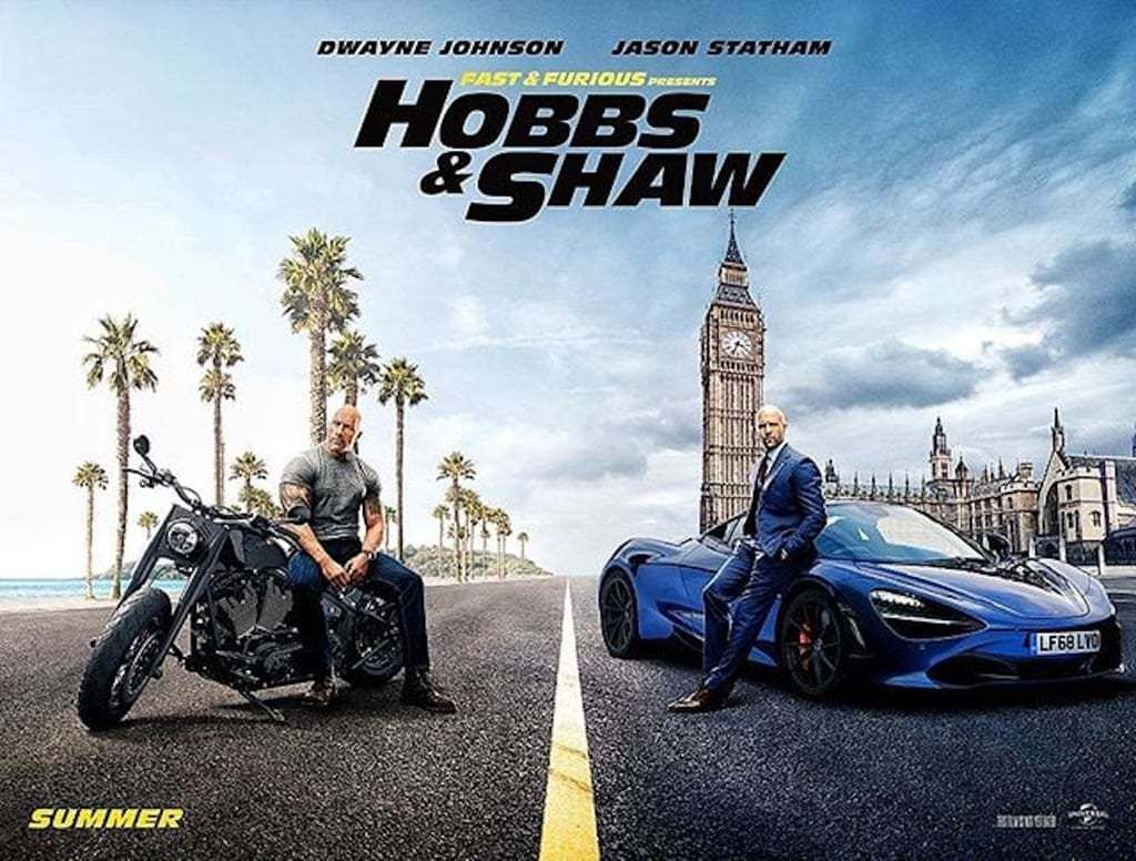 A poster for 'Hobbs & Shaw' starring Dwayne Johnson and Jason Statham