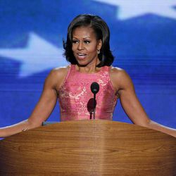First Lady Michelle Obama addresses the Democratic National Convention in Charlotte, N.C., on Tuesday, Sept. 4, 2012.