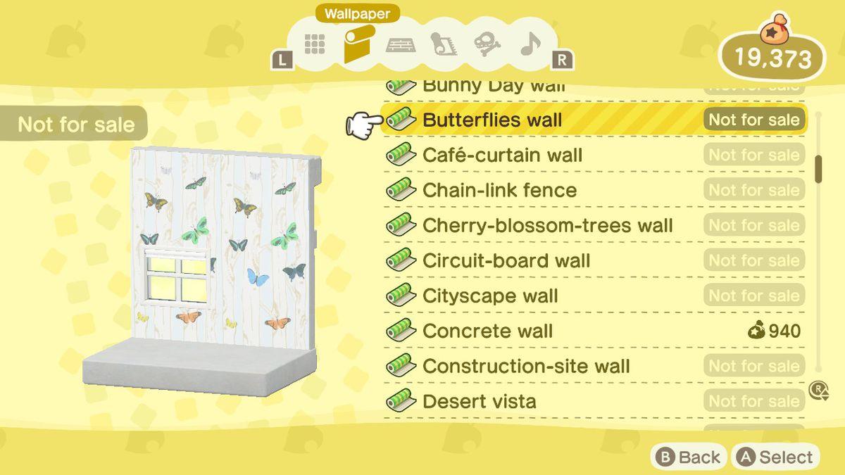 An Animal Crossing: New Horizons shop menu for a Butterflies Wall