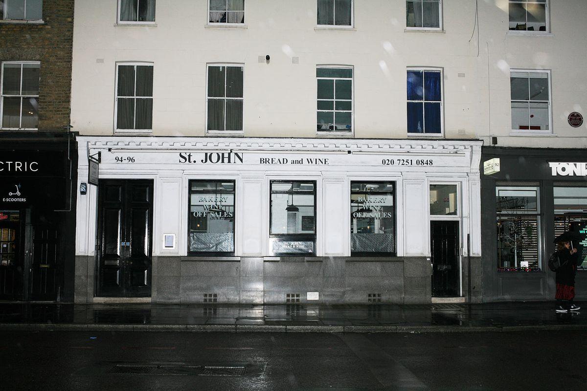 St John Bread and Wine sits closed in Spitalfields during the coronavirus lockdown in London