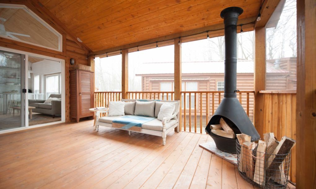 Covered deck with wood burning stove