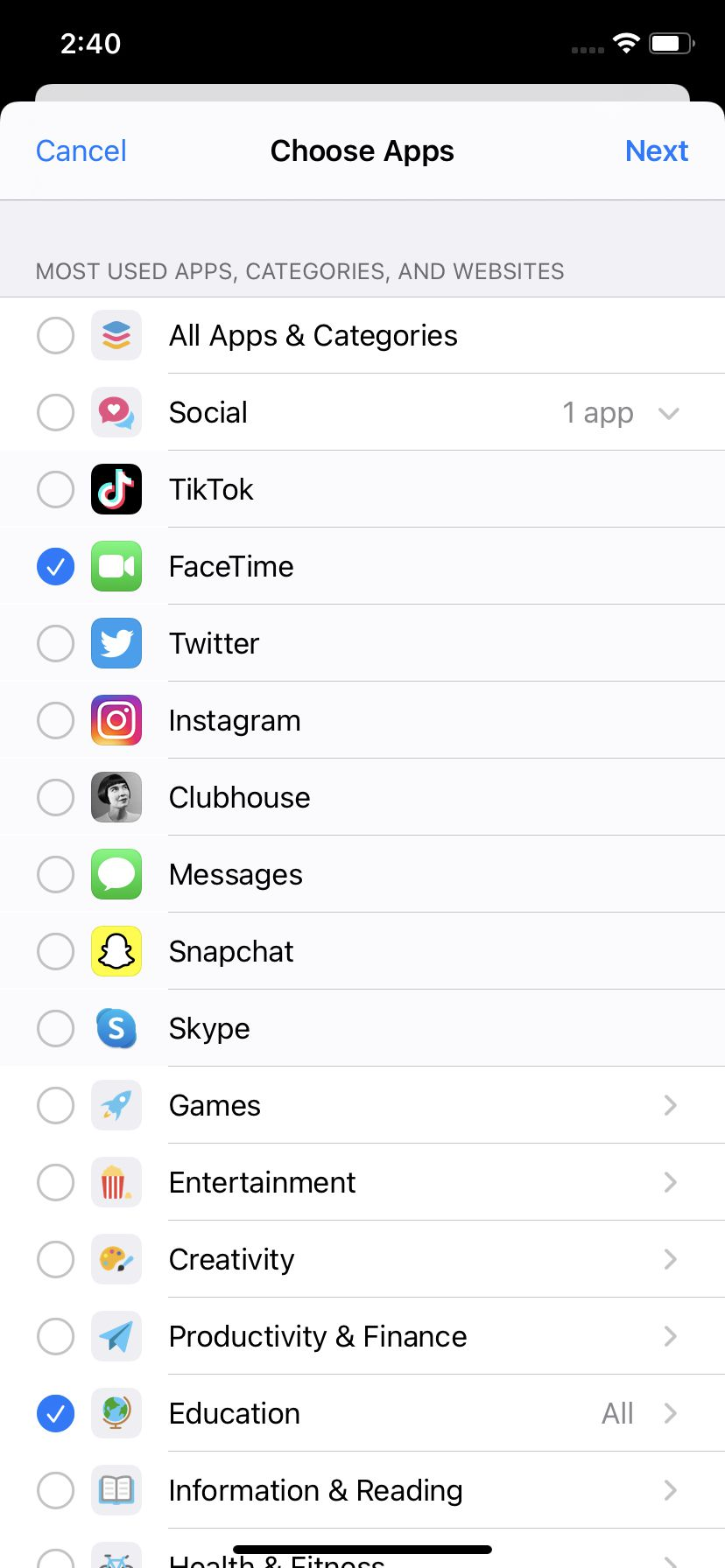 You can limit specific apps or a category of apps