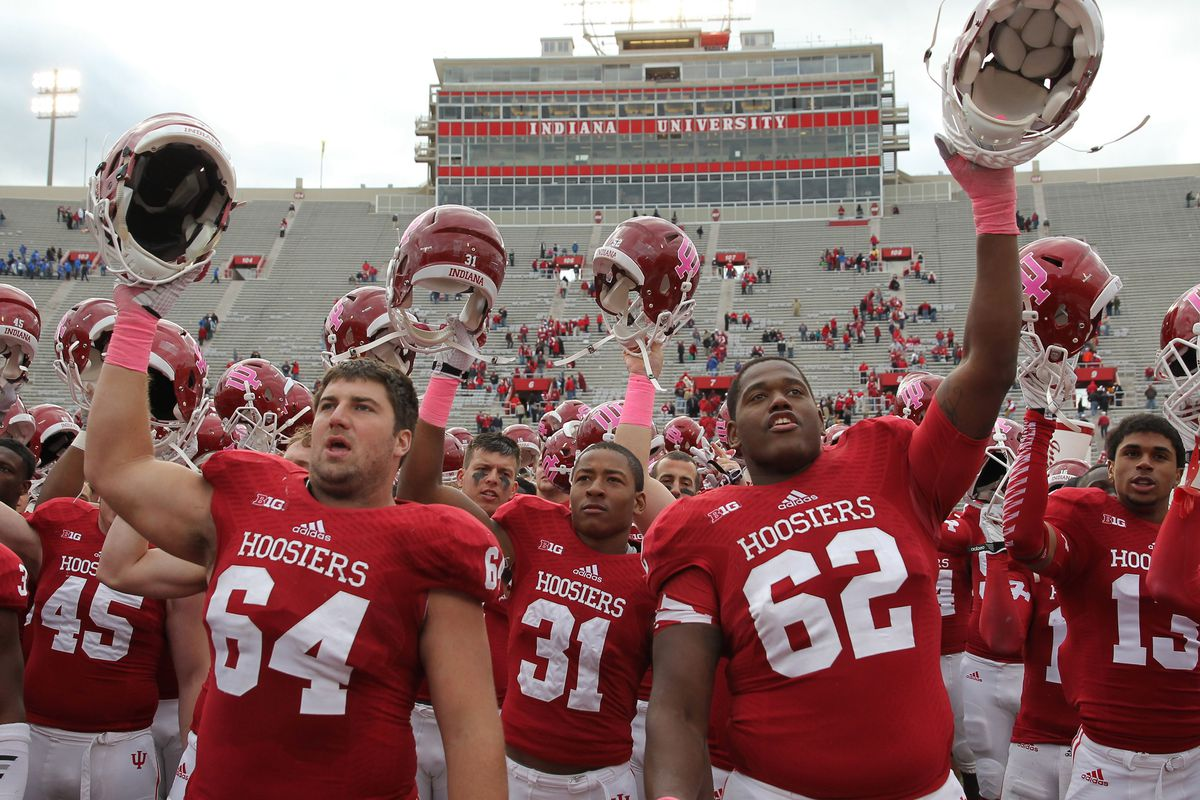 IU is now 2-0 when they wear the helmets with the pink logo.