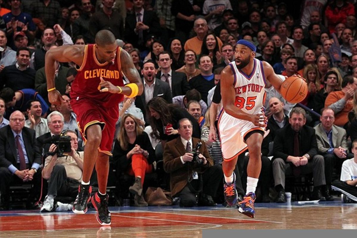 Feb 29, 2012; New York, NY, USA;  New York Knicks point guard Baron Davis (85) heads up court during the fourth quarter against the Cleveland Cavaliers at Madison Square Garden.  Knicks won 120-103.  Mandatory Credit: Anthony Gruppuso-US PRESSWIRE