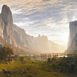 """Looking Down Yosemite Valley, California"" (1865) is by landscape master Albert Bierstadt."