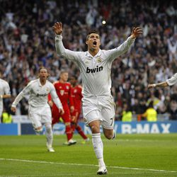 Real Madrid's Cristiano Ronaldo from Portugal celebrates after scoring during a semi final second leg Champions League soccer match against Bayern Munich at the Santiago Bernabeu stadium, in Madrid, Wednesday, April 25, 2012.