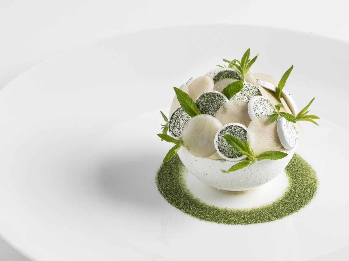An apple and meringue dessert at tasting menu Michelin-starred restaurant Core by Clare Smyth