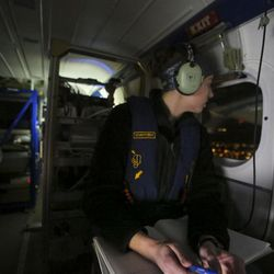 Erin McDuffie, graduate student at University Colorado, Boulder checks her instruments on the Twin Otter DHC-6 before taking off from the Salt Lake City International Airport in Salt Lake City on Sunday, Feb. 12, 2017. The National Oceanic and Atmospheric Administration (NOAA) has been flying over Salt Lake, Cache and Utah valleys to survey chemical conditions responsible for the formation of particulate pollution, known as PM2.5.