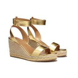 Wedge sandals in gold, $36, (online only)