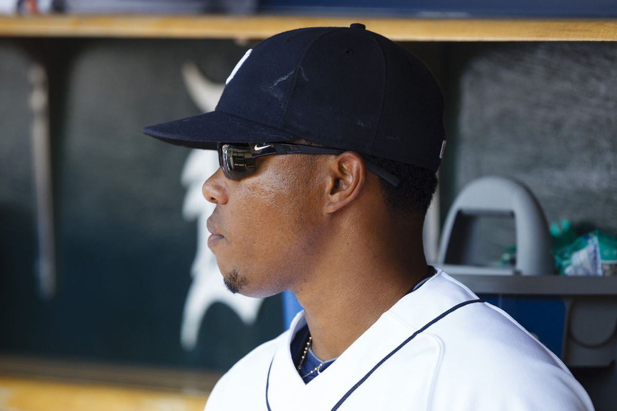 June 21, 2012; Detroit, MI, USA; Detroit Tigers second baseman Ramon Santiago (39) sits in dugout before the game against the St. Louis Cardinals at Comerica Park. Mandatory Credit: Rick Osentoski-US PRESSWIRE