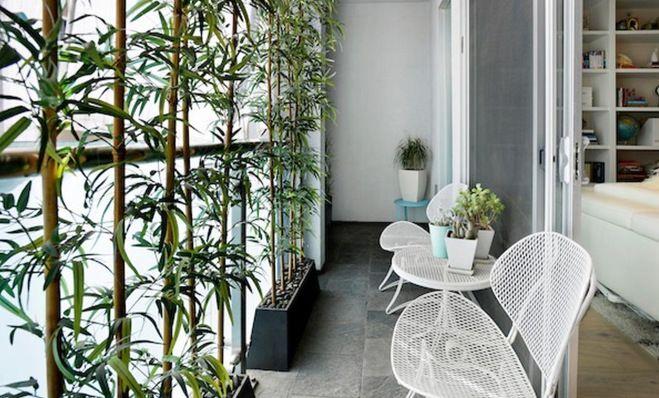 Balcony with bamboo