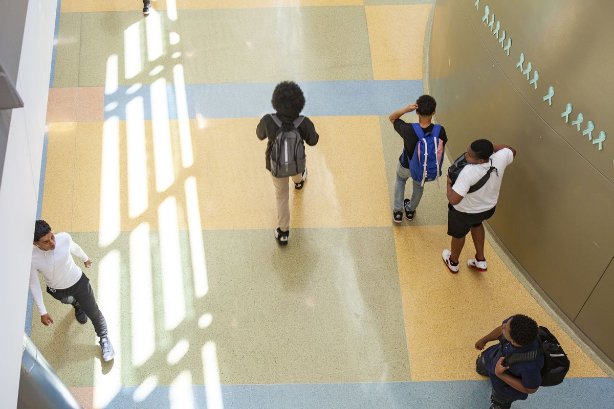 Students in the hallways at North-Grand High School in Chicago. Photo by Stacey Rupolo/Chalkbeat; Taken May, 2019