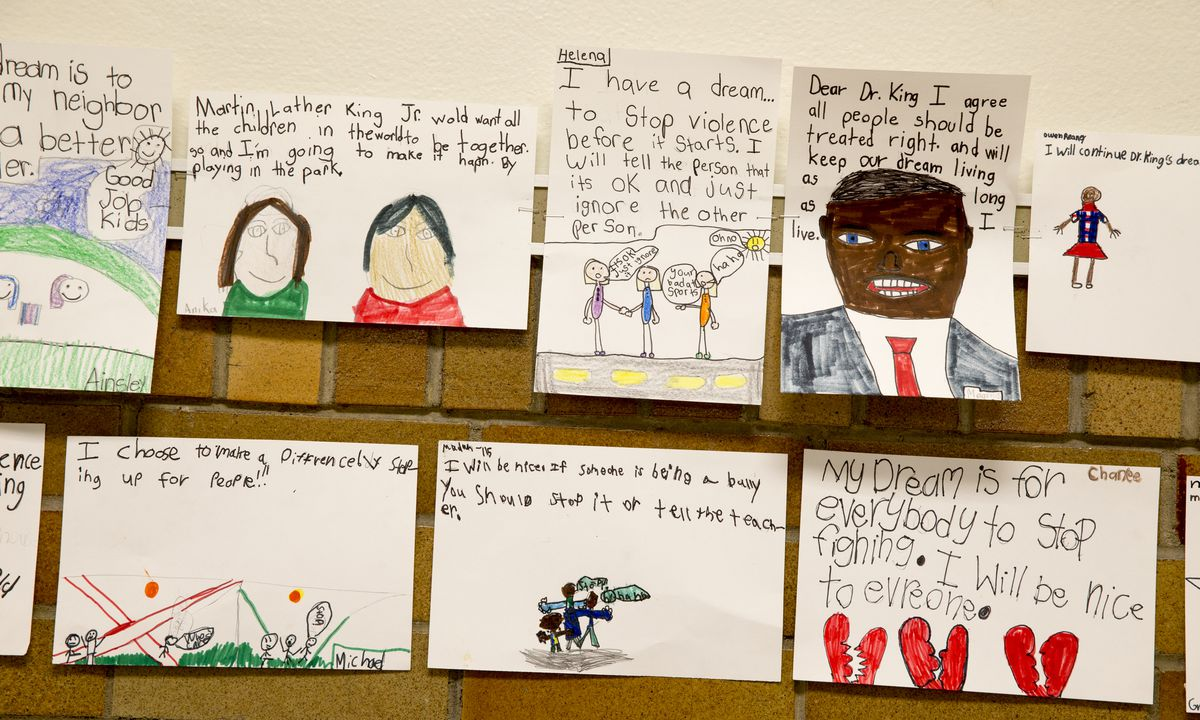 Assignments on the wall after a project on Dr. Martin Luther King Jr., at Center for Inquiry School 84, Indianapolis, Wednesday, May 18, 2016. Ethnically, the campus is one of the least diverse in the IPS system, and enrollment priority is given to kids living near its Meridian-Kessler location.