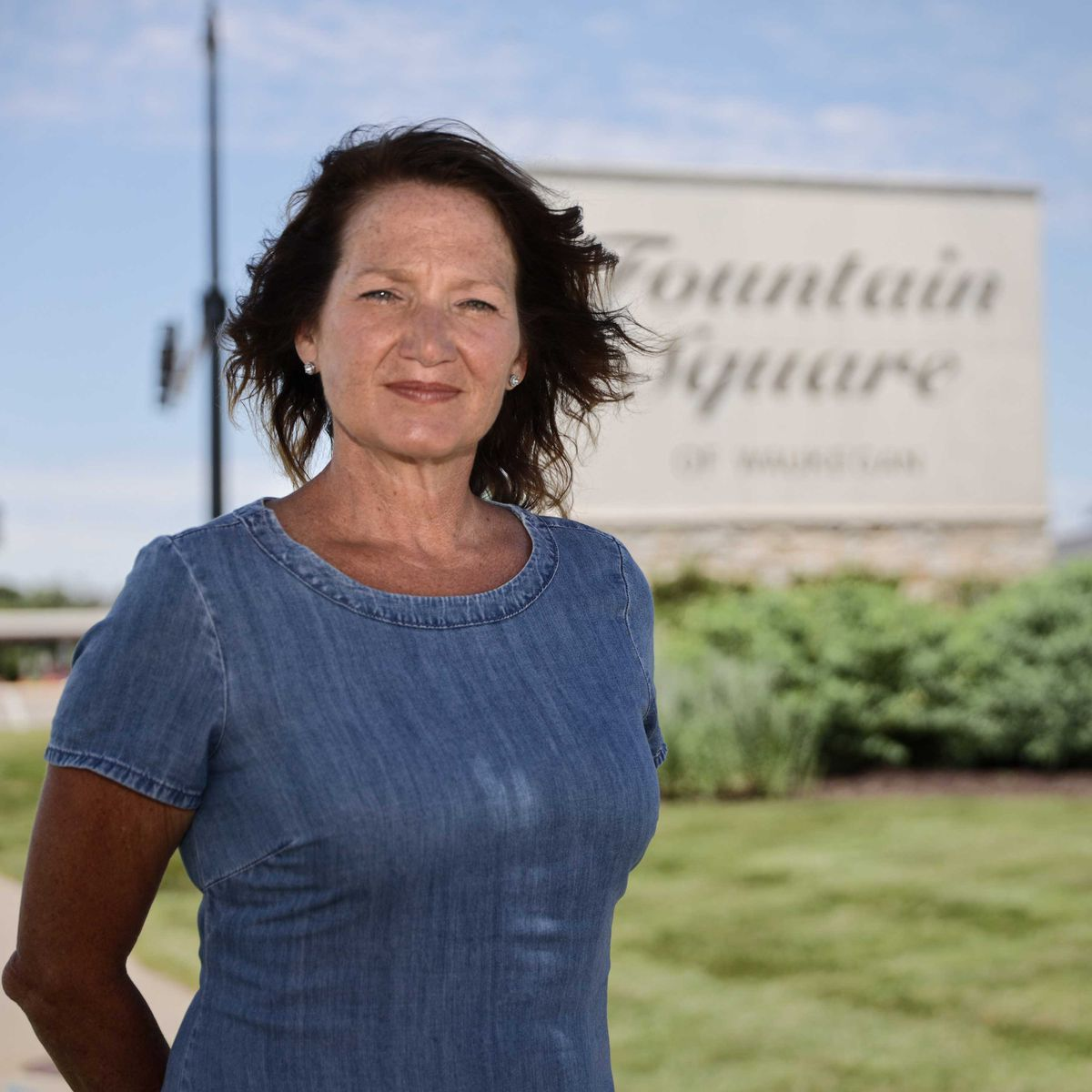 Former Waukegan Ald. and mayoral candidate Lisa May at Fountain Square of Waukegan mall, which is across from a possible casino site.