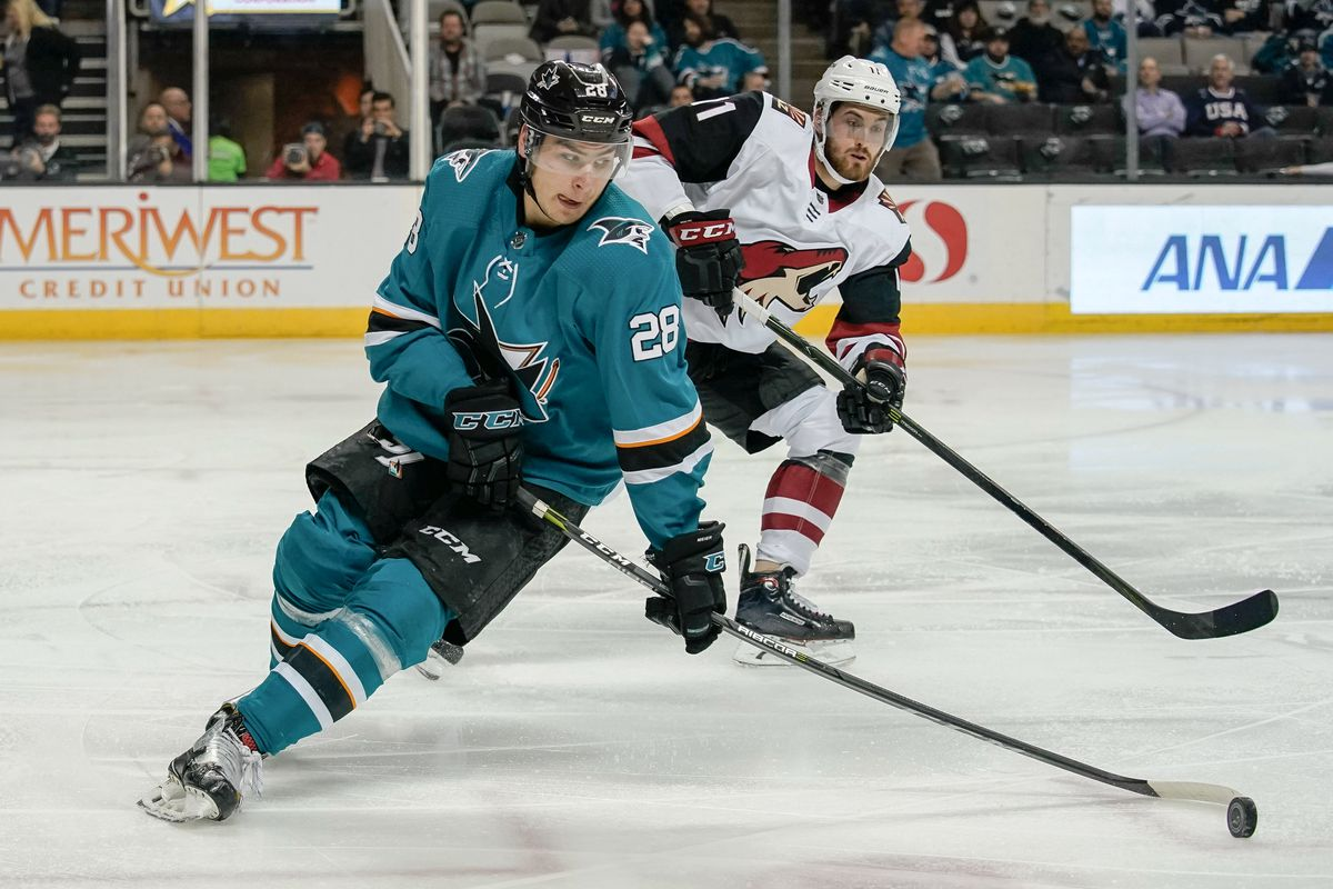 Feb 13, 2018; San Jose, CA, USA; San Jose Sharks right wing Timo Meier (28) controls the puck against the Arizona Coyotes during the second period at SAP Center at San Jose.