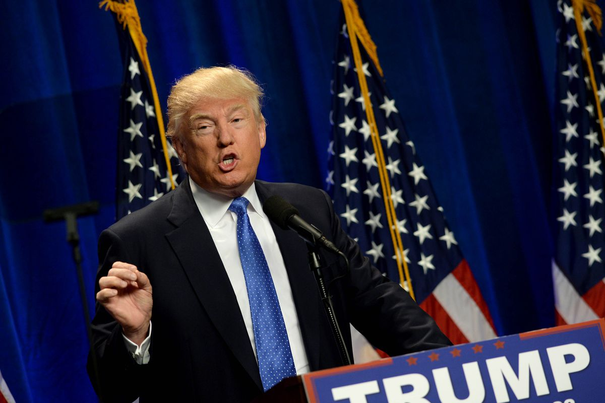 Donald Trump gives a speech in New Hampshire.