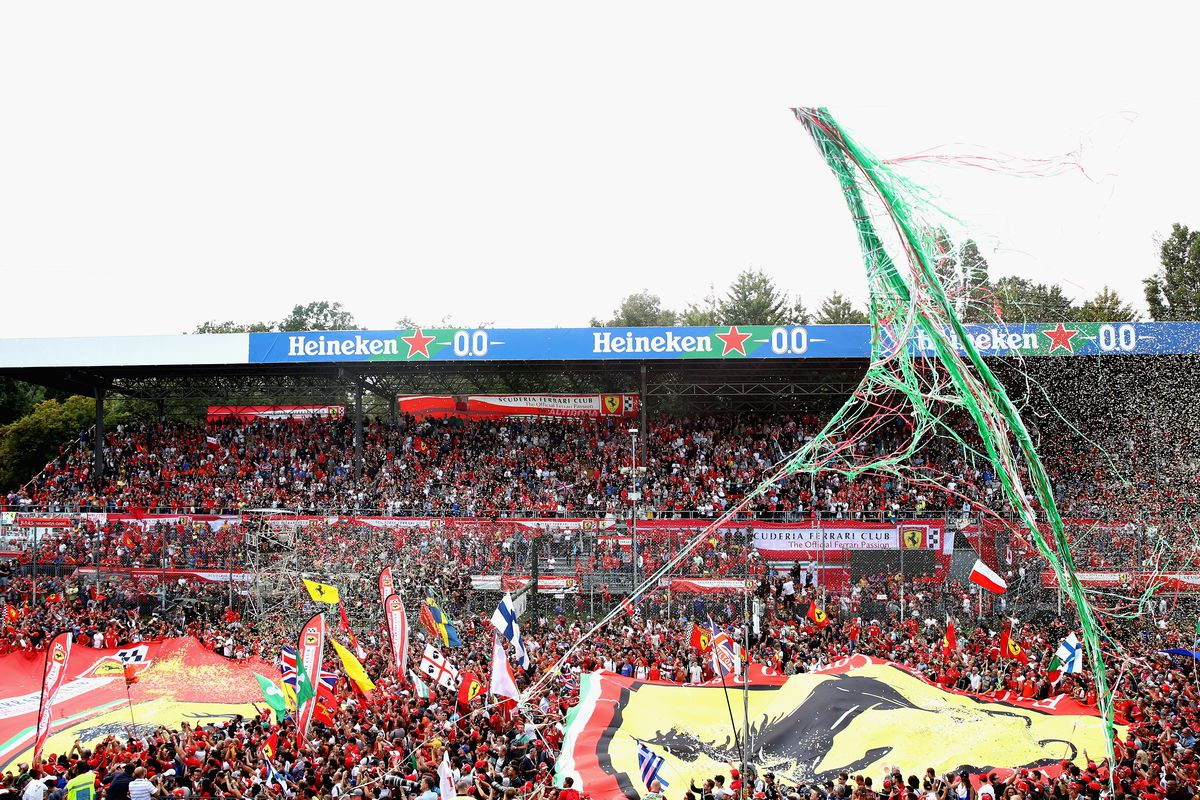 A general view of fans on the track at the podium ceremony during the Formula One Grand Prix of Italy at Autodromo di Monza on September 2, 2018 in Monza, Italy.