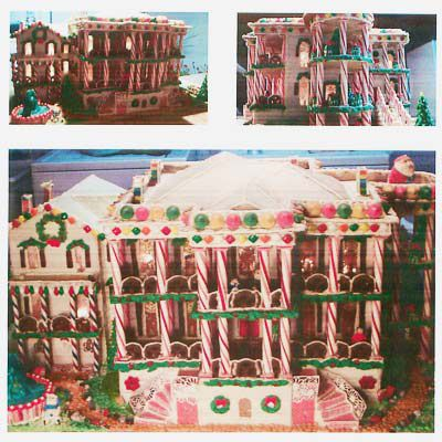 A gingerbread and candy cane home.