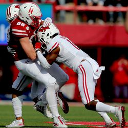 Faion Hicks with one of his three tackles on the day. Unusually for the Badgers, the secondary topped the team totals in tackles, ahead of linebackers, as 3 of the top 5 tacklers came from the secondary.