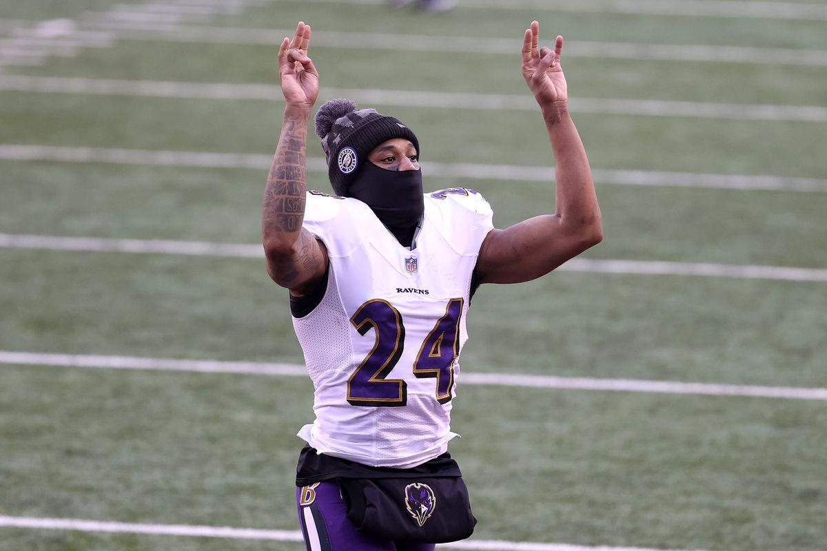 Cornerback Marcus Peters of the Baltimore Ravens celebrates after the Ravens defeated the Cincinnati Bengals at Paul Brown Stadium on January 03, 2021 in Cincinnati, Ohio.