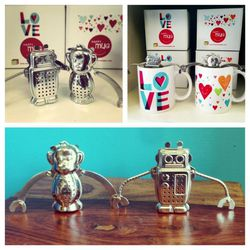"""Monkey and robot tea infusers and heart mugs from NoLibs' <a href=""""http://swagphilly.bigcartel.com/"""">Swag</a>"""