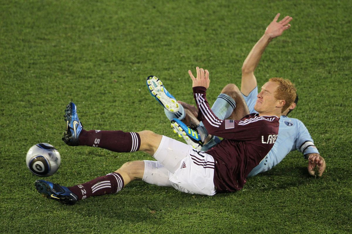 Photo by Doug Pensinger/Getty Images As per usual, Colorado Rapids midfielder Jeff Larentowicz sustained a bruising from Sporting Kansas City during the U.S. Open Cup match at Livestrong Park.