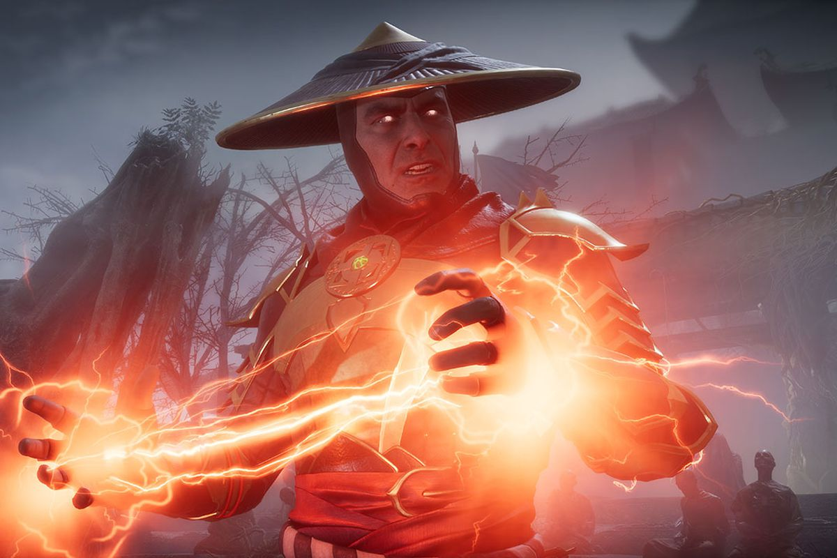 Raiden charges an electric blast in Mortal Kombat 11