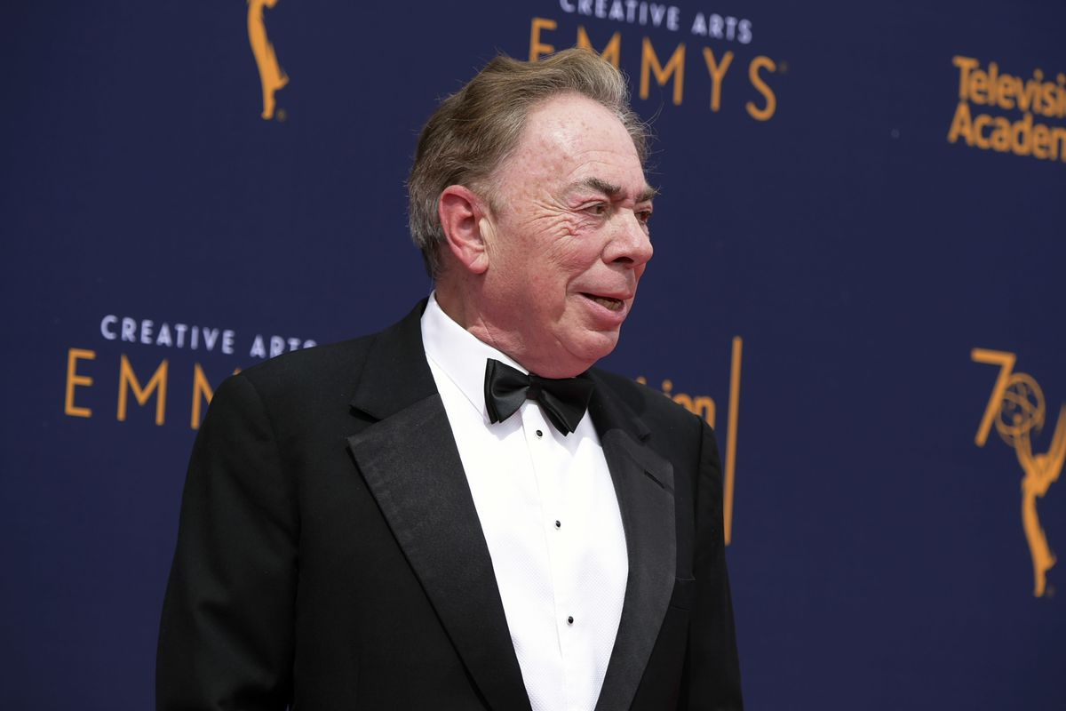 Andrew Lloyd Webber arrives at the second night of the Creative Arts Emmy Awards at The Microsoft Theater in Los Angeles.