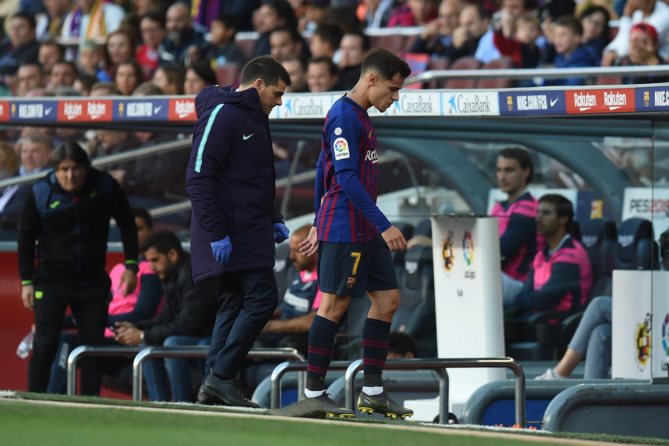 Coutinho out for 10 days with thigh injury