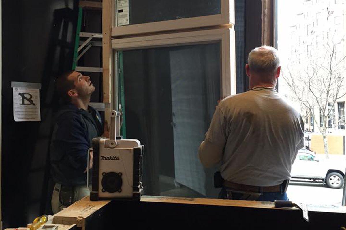 Installing windows at Saltie Girl