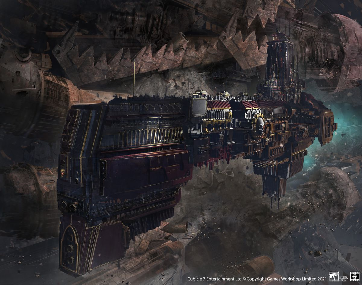 An imperial ship pulls up alongside an Orkish space hulk.