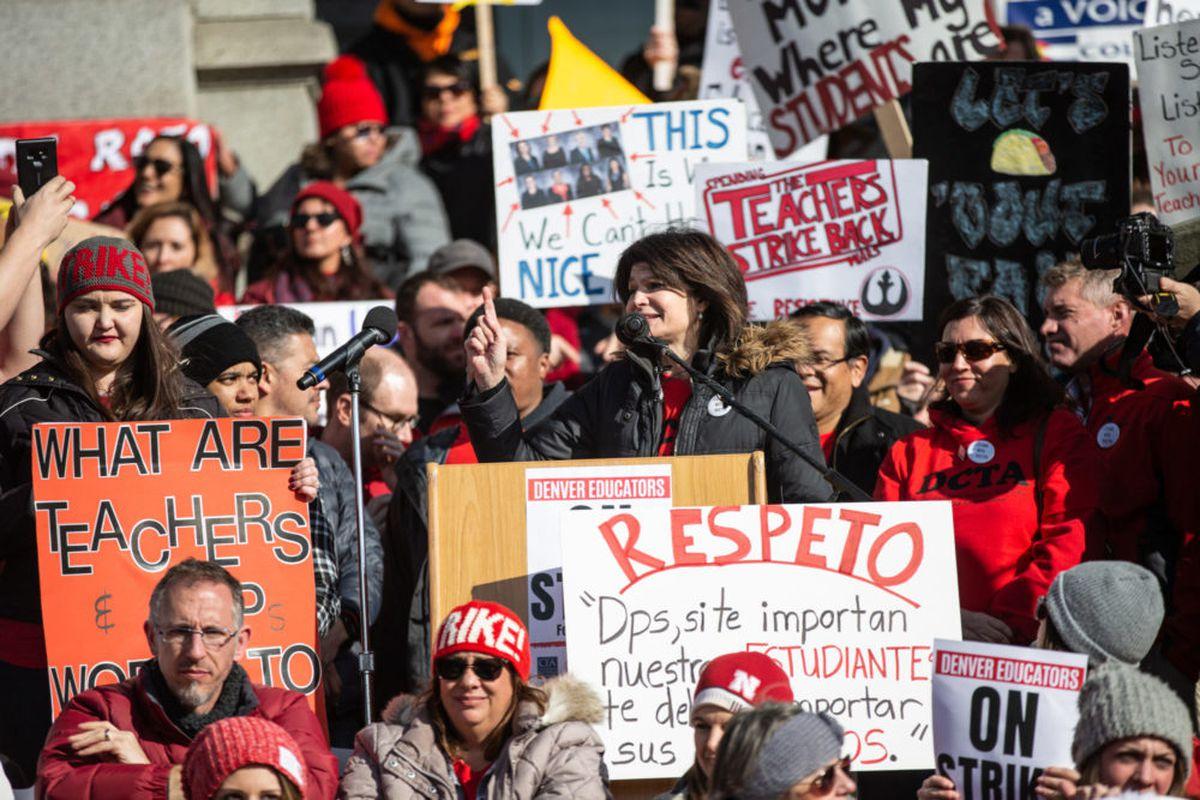 Lily Eskelsen García, president of the National Education Association, fires up striking Denver teachers at the Colorado State Capitol.